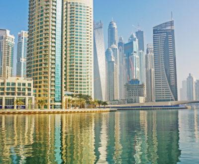 DUBAI, UAE - NOVEMBER 13: Modern buildings in Dubai Marina, on November 13, 2012, Dubai, UAE. Dubai was the fastest developing city in the world between 2002 and 2008.