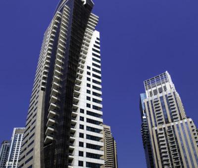 high luxury blue modern building skyscraper with balcony