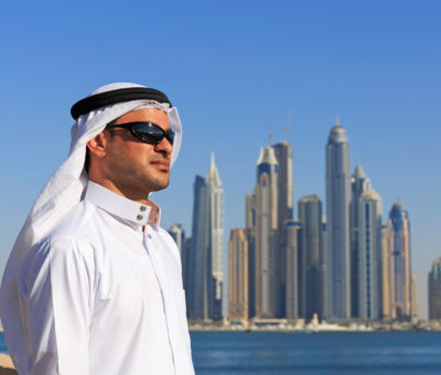Portrait of a young Arabic man in Dubai Marina